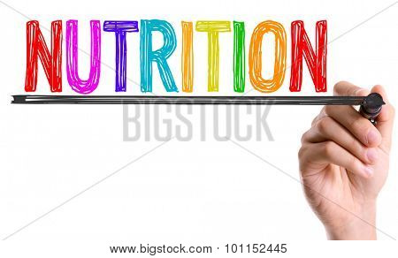 Hand with marker writing the word Nutrition