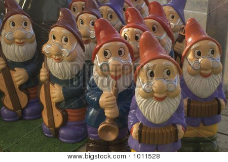 Set Of Garden Gnomes Playing Musical Instruments