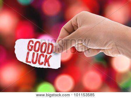 Piece of paper with the word Good Luck with bokeh background