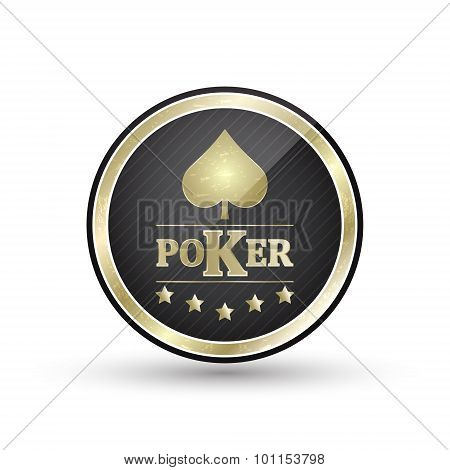 Golden poker icon with card symbol