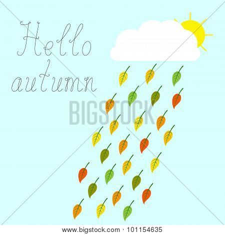 Autumn Greeting Card With Leaves
