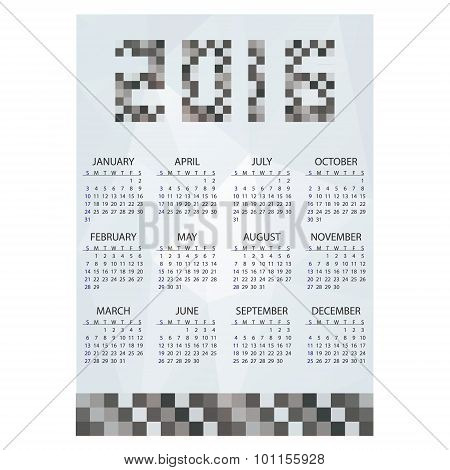 2016 Simple Business Wall Calendar Grayscale Bricks Eps10