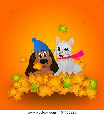 Cute Dog And Cat In Autumn Leaves
