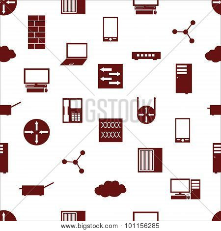 Network Icons White Simple Seamless Pattern Repaired Eps10