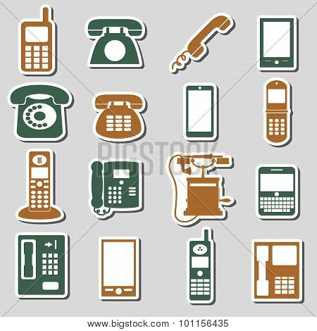 Various Phone Symbols And Icons Stickers Set Eps10