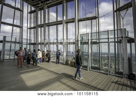 London, UK-May,10th,15 The Shard observation deck, tourists sightseeing from the tallest building in the European Union