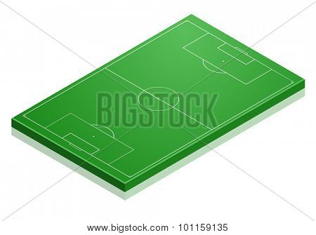 detailed illustration of a Soccer field with isometric perspective, eps10 vector