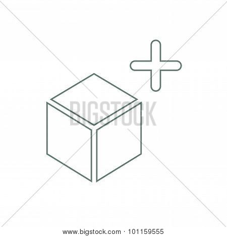 Lightbox Concept Icon. Stock Illustration Flat Design Box And Plus Sign Icon...