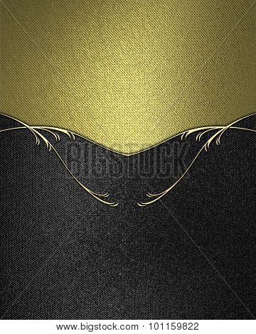 Black Velvet Background With Gold Top. Element For Design. Template For Design. Copy Space For Ad Br