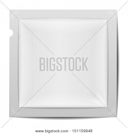 detailed illustration of a blank rectangular foil packaging template, eps10 vector