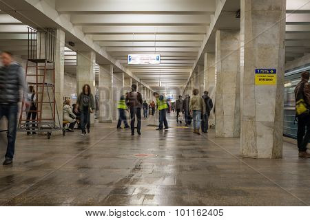 Moscow, Russia -27.04.2015. Subway Stations Begovaya. Moscow Metro Carries Over 7 Million Passengers