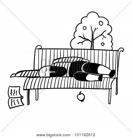 a man with a black beard in a striped vest fell asleep on a park bench vector illustrati