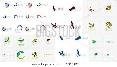 Vector abstract company logos mega collection, loops, concepts swirls waves. Modern universal idea business icons isolated on white