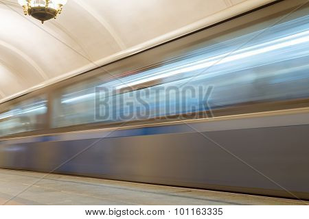 Moscow, Russia -27.04.2015. Moving Train At The Subway Stations Krasnopresnenskaya. Moscow Metro Car