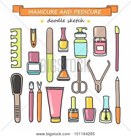 Vector Set Of Manicure And Pedicure Doodle Equipment.