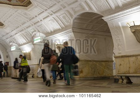 Moscow, Russia -27.04.2015. Subway Stations Belorusskayamoscow Metro Carries Over 7 Million Passenge