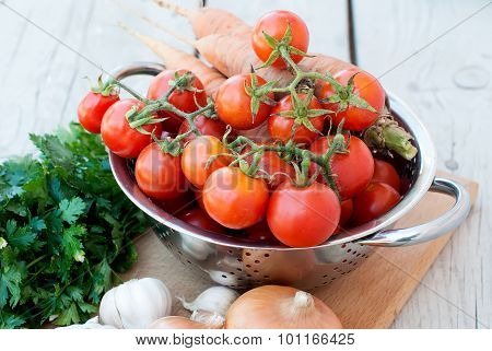 Autumn Vegetables On The Table - Tomatoes, Peppers, Eggplant,