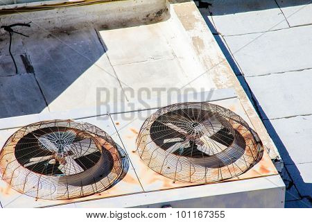 Old Ventilation System On The Roof Of An Industrial Building