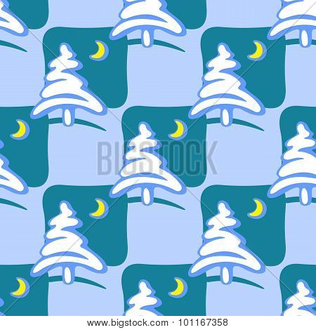 winter trees seamless pattern