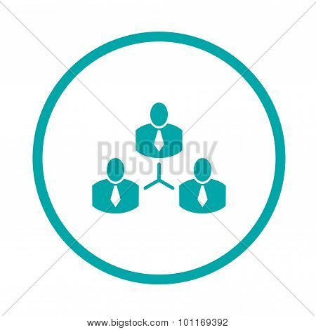 Abstract Illustration Icon With Complex Business Network. Business Networking. Button.