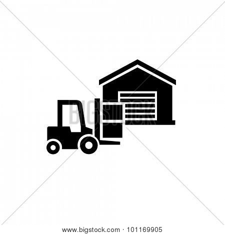 Warehouse and forklift delivery truck vector icon