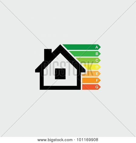 House energy efficiency rating vector icon