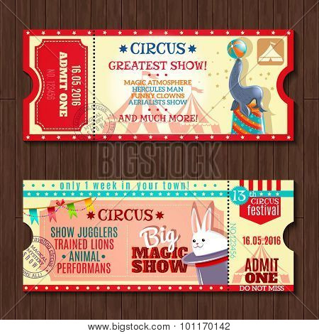 Circus show two vintage tickets set