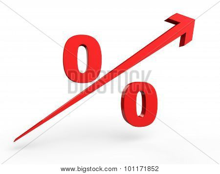 3d rising percentage sign