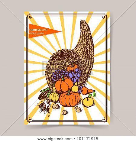 Sketch Thanksgiving Cornucopia