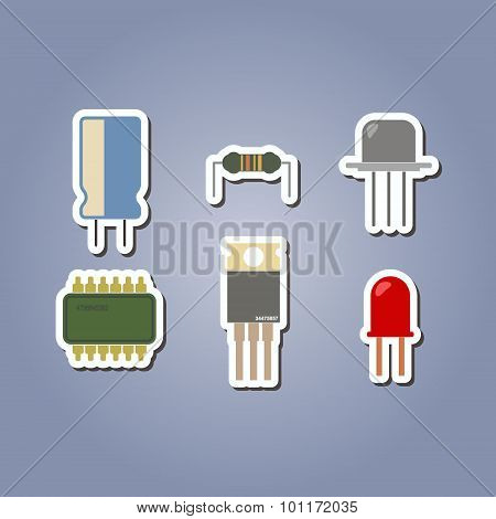 color icon set with electronic components