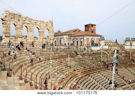 VERONA, ITALY - SEPTEMBER 3, 2012: The Verona Arena (Arena di Verona) is a Roman amphitheatre on Pia