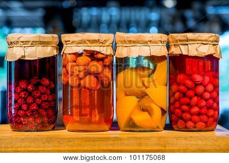 Canned Homemade Compote Of Fresh Berries And Fruits
