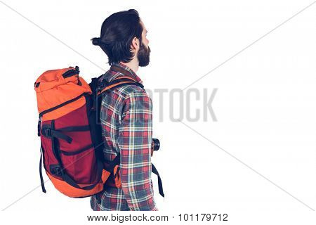 Side view of hiker over white background