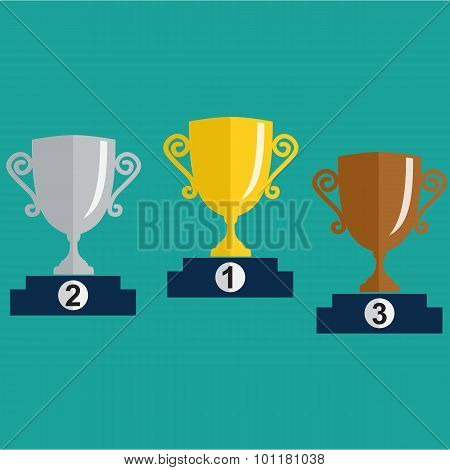 Gold, Silver And Bronze Trophy Cup On Prize Podium.