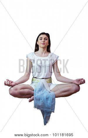 Girl in white dress floating in air on white background