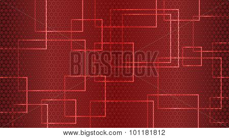Red Abstract Background Of Circles, Squares And Rectangles