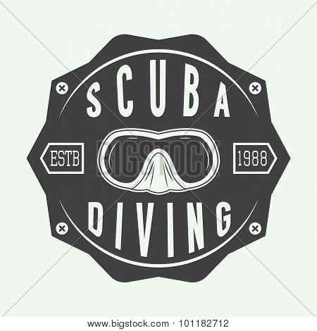 Diving Logos, Labels And Slogans In Vintage Style.