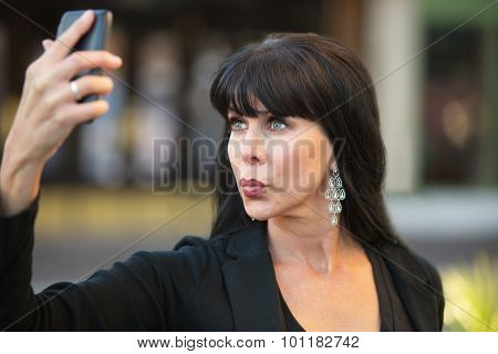 Attractive Woman Taking Selfie