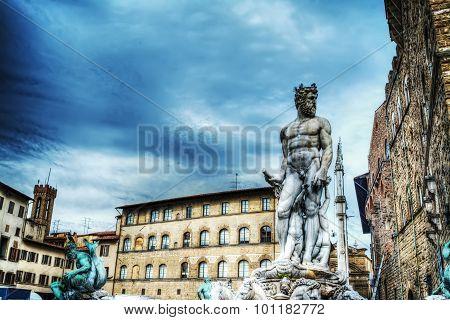 Neptune Statue In Piazza Della Signoria In Florence