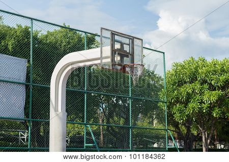 Basketball Backboard In Sunny Day
