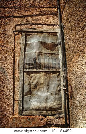 Broken Window In An Old Wall In Hdr