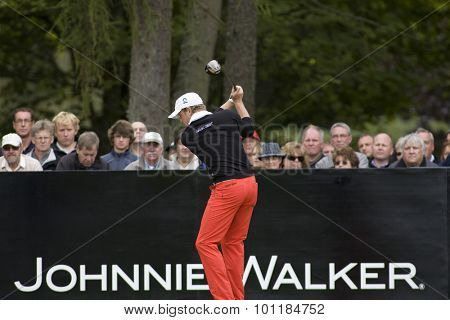 Aug 30 2009; Gleneagles Scotland; Jamie Donldson (GBR) competing in the final round of the European Tour Johnnie Walker Championship.