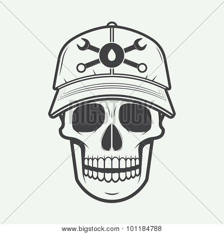 Vintage Vector Mechanic Logo Label With Skull, Wrench