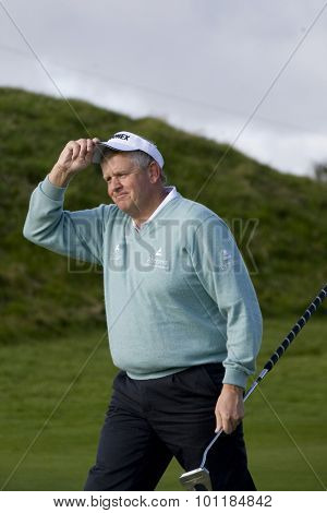 GLENEAGLES SCOTLAND, 29 AUGUST 2009. Colin Montgomerie (GBR) competing in the third round of the European Tour Johnnie Walker Championship.