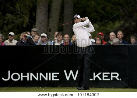 Aug 30 2009; Gleneagles Scotland; Gregory Havret (FRA) teeing off on the 1st tee competing in the final round of the European Tour Johnnie Walker Championship.