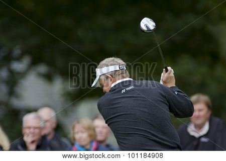 Aug 30 2009; Gleneagles Scotland; Colin Montgomerie (GBR) competing in the final round of the European Tour Johnnie Walker Championship.