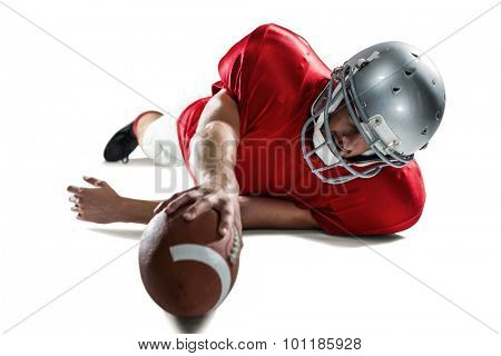 Full length of sports player struggling to catch the ball against white background
