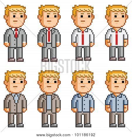 Pixel art set office workers