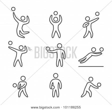 Outline volleyball icons set