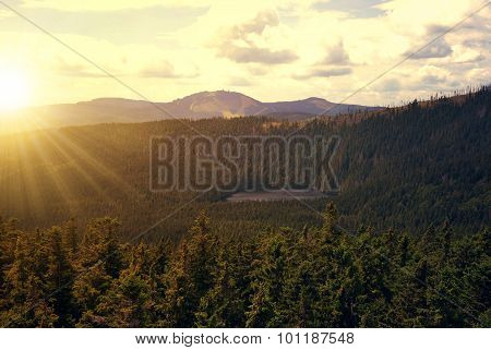 Sunset over the National park Sumava